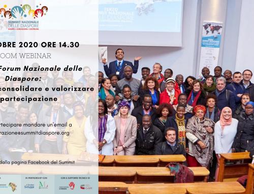 Verso il Forum Nazionale delle Diaspore: rafforzare, consolidare e valorizzare la partecipazione- 24 ottobre 2020