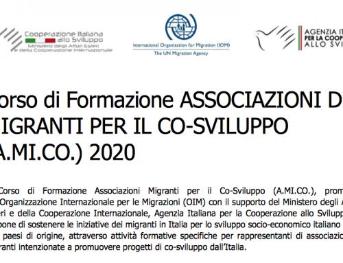 NUOVA CALL: CORSO DI FORMAZIONE ASSOCIAZIONI DI MIGRANTI PER IL CO-SVILUPPO (A.MI.CO.) 2020