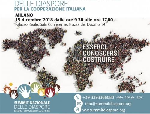 IL 15 DICEMBRE A MILANO, IL SECONDO SUMMIT DELLE DIASPORE PER LA COOPERAZIONE ITALIANA.